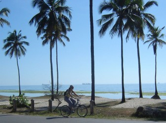 Me cycling to work, and thats the Indian Ocean in the background