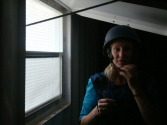In body armour and helmet by my pod