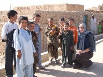 With Lashkar Gah children on a newly built road