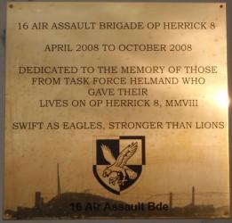 Plaque commemorating 16 Air Assault Brigade's fallen soldiers