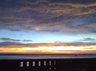 The sun sets over Maputo