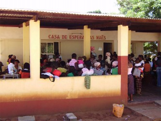 The busy waiting room of the antenatal clinic