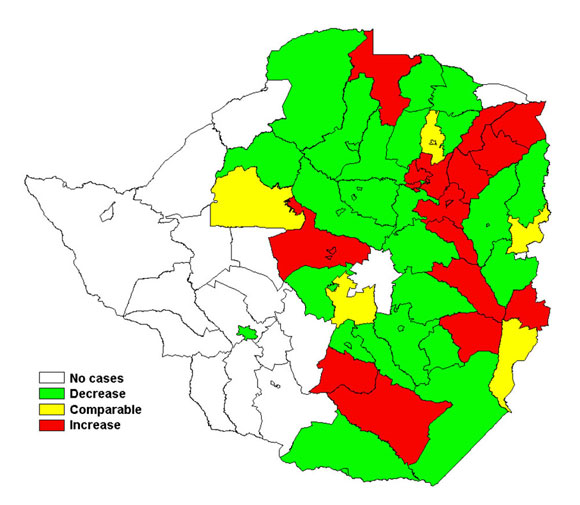 Map showing the trend in cholera cases in Zimbabwe from 22 – 28 February - click for bigger picture (© WHO)