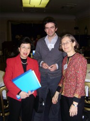 Margaret Chan (left) with Peter Colenzo and Jenny Amery, before speaking to DFID health advisers