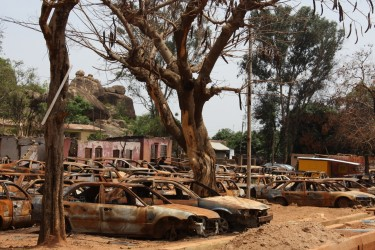 Burnt out cars - Jos riots