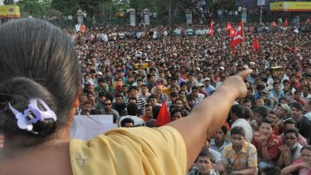 A Maoist political rally