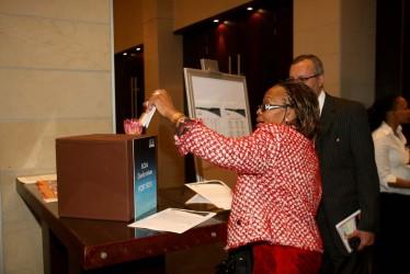Tshidi Mokgabudi from KPMG's 'Obabia Foundation' posts her signed commitment to the BCtA