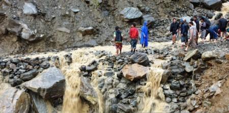 Washed away raod in Ramche, Rasuwa District: Courtesy - Storyline Associates