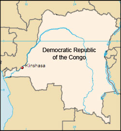 Map showing Kinshasa, DR Congo