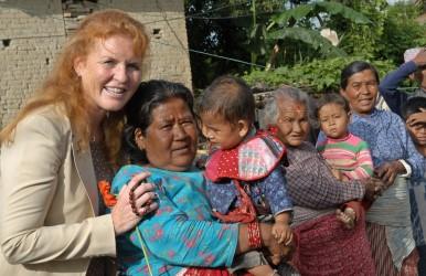 Duchess of York Sarah Ferguson with women and children at Bungamati (Photo credit: DFID)