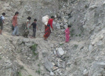 The landslide is posing threat to the mobility of women and children in Rasuwa