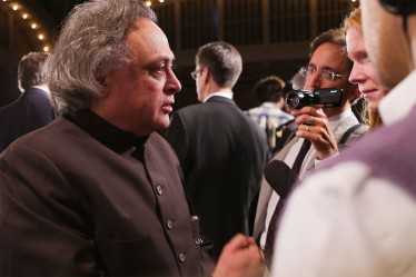 Jairam Ramesh is interviewed at Climate Week in New York. Credit: Matthew McDermott