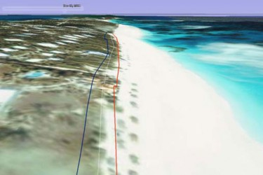 Another example showing predicted rising sea levels along a Caribbean beach. Taken from www.caribsave.org