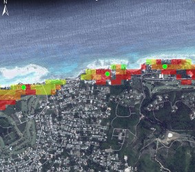 An example of high resolution sea level rise modelling now being undertaken in the Caribbean. The colours show the impact of different levels on infrastructure which help us understand our vulnerabilities and identify options to adapt. Taken from 'An overview of modelling climate change impacts in the Caribbean with contribution from the Pacific islands'. www.caribsave.org.