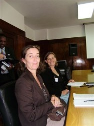 Katie Bigmore of DFID (at the front) and Lisa Nelson of CDC Mozambique