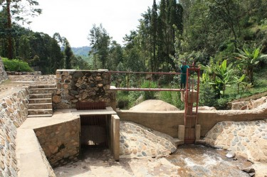 Upstream water diversion pond for refurbished 105kW micro hydro plant near Kibuye, Rwanda