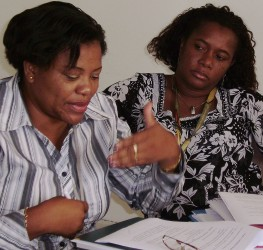 Dr Celia and Dr Isaura in the working group.