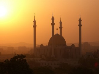 Dusty sunset behind Abuja's central mosque