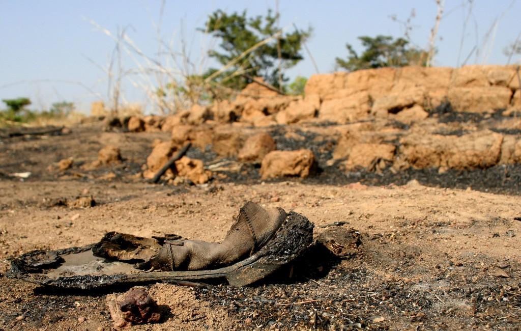 Photo of a burnt shoe