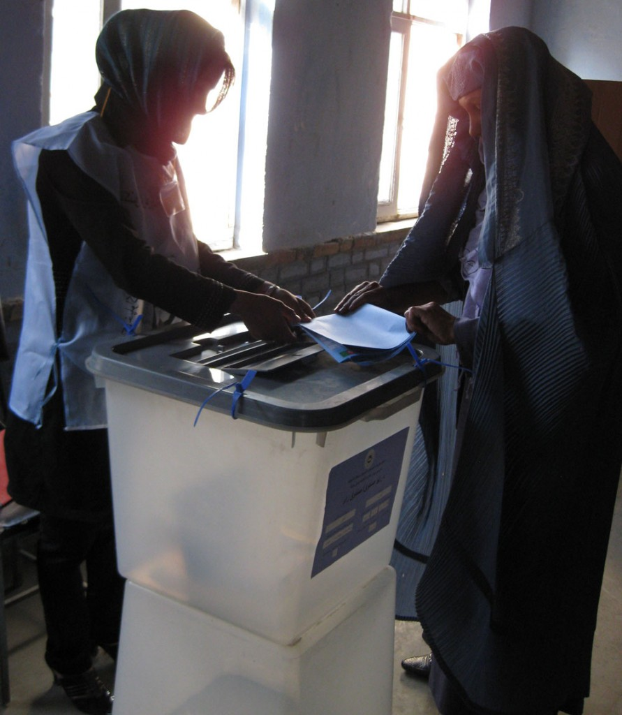Photo of a woman voting at a polling station