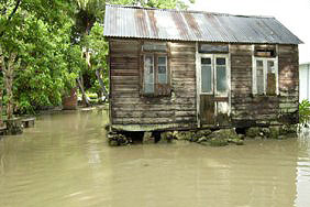 Photo of a flooded house