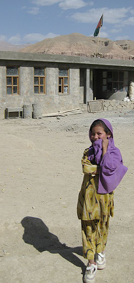 Photo of a girl outside a school