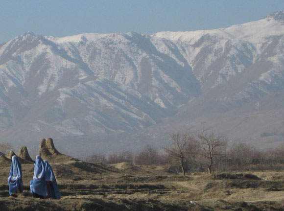 Photo of snow-tipped mountains in northern Kabul