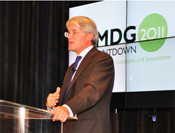 Enthusiasm: Secretary of State Andrew Mitchell kicks things off. Picture: USAID