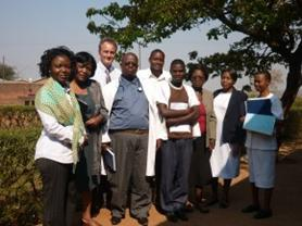 Ruth Ethel and Neil with staff from Mtengowatenga Mission hospital. Picture: Neil Squires/DFID