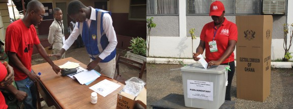 Left: Checking fingerprints. Right: A colleague casts her vote. Picture: Henry Donati/DFID