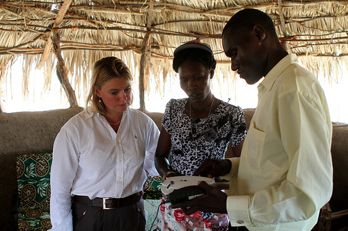 Secretary of State, Justine Greening, viewing another tech investment in Kenya - smart cards - used to distribute British aid directly into the hands of those struggling in the arid region of northern Kenya. Picture: Noor Khamis/DFID