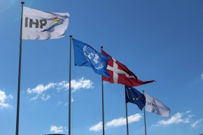 Flags flying at triplex. Picture: Henry Donati/DFID