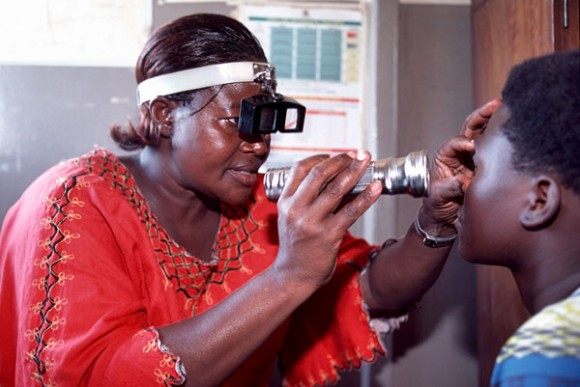 A qualified eye-care worker examining a patient. Picture: Sightsavers