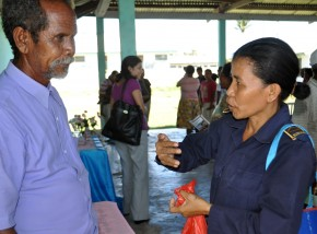 Sergeant Amelia de Jesus Amaral, the Commander of the Vulnerable Person's Unit of the National Police of Timor-Leste, speaking earlier this year with a customary leader about reporting domestic violence. Her unit works with the community to raise awareness of violence against women and girls, and to refer survivors to the UN Women/DFID-supported network of service providers discussed in the blog post.