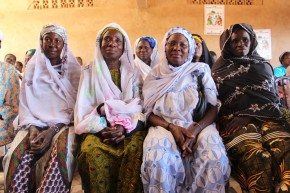 Women from the Zitenga region listen to a discussion on FGM/C