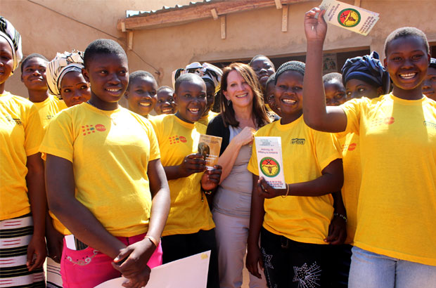 Lynne Featherstone meets girls from the Zitenga region. Picture: Lindsay Mgbor/DFID