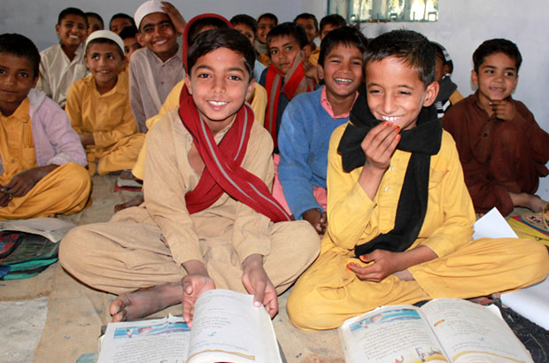 Brothers Faisal (left, 6 yrs) and Amir (right, 7 yrs) at their primary school in Muzaffargarh, Sindh. Picture: Victoria Francis/DFID