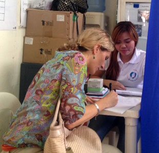 Claire interviews Christa in the Philippines. Picture: MSI