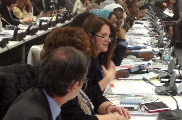"""Lynne Featherstone at the """"Empowering Young People to End FGM"""" event at CSW."""
