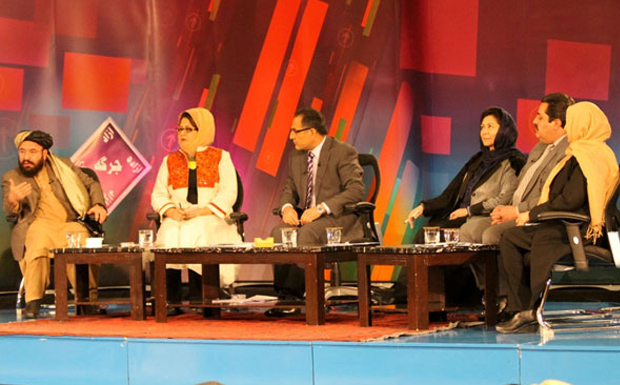 Open Jirga panellists included the Minister of Women's Affairs Husn Banu Ghazanfar (third right), The Minister of Labour and Disability, Amena Afzali  (first right ) and Abdul Rahman Hotaki from the Independent Election Commission (second right).