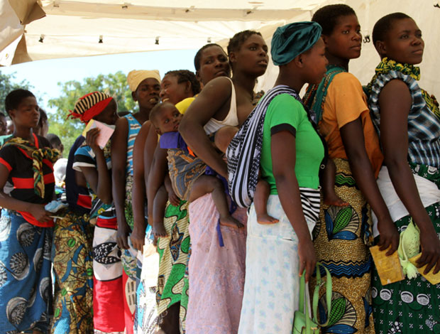 Women queue to be registered for free family planning services in Malawi. Picture: Lindsay Mgbor/DFID