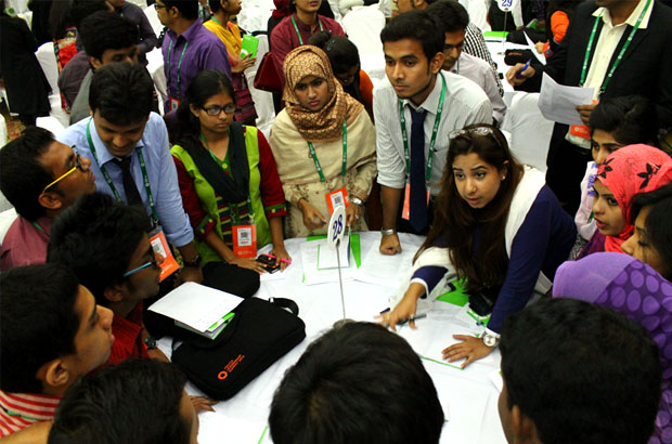 Young people and their ideas begin to coalesce as the delegates collectively address emerging adaptive challenges. Picture: Durlov Nubras Ahmed/BYLC