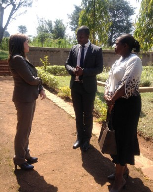 Lynne Featherstone visits the genocide memorial at Ntarama Church. Picture: Jennifer Harris/DFID