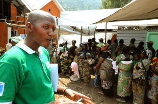 Prince, from Concern, explains the cash-transfer programme in Masisi. Picture: Chris Pycroft/DFID DRC