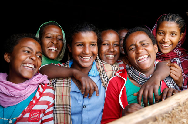 For girls like Bayush (far left) and her friends, education is key to avoiding early marriage and FGM. Picture: Jessica Lea/DFID