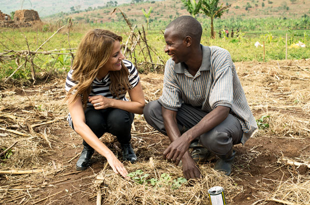 Caroline visits the farming cooperative and meets Dieudonne. Picture: Sam Faulkner/Comic Relief
