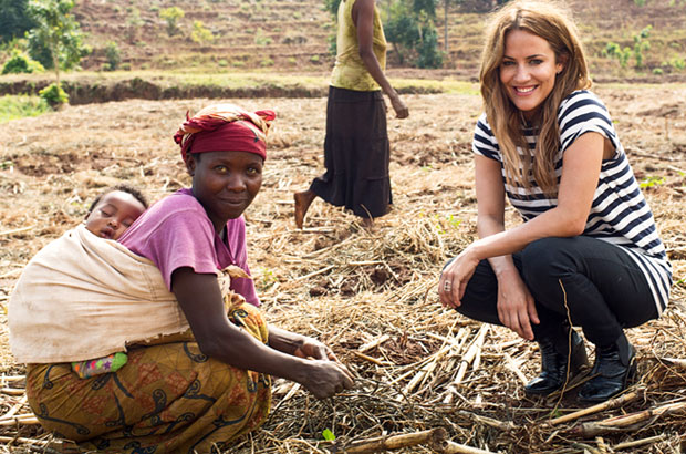 Caroline planting watermelon seeds with members of the farming cooperative. Picture: Sam Faulkner/Comic Relief