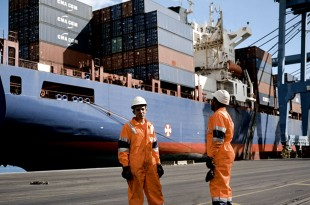 Dock workers at the Dubai Ports Sokhna container facility wait for their shift to start. Picture:Jason Larkin/Panos