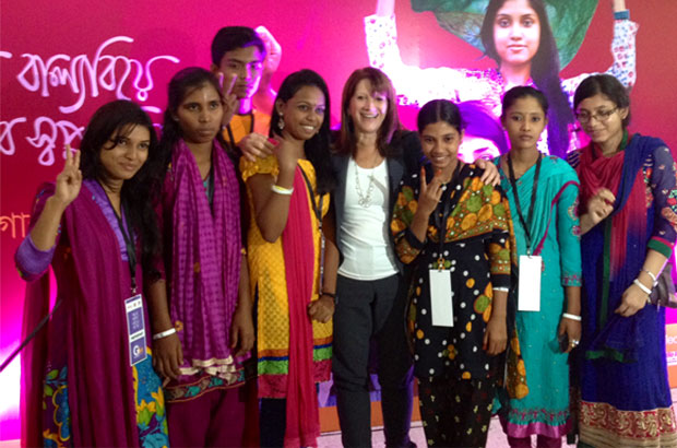 International Development minister Lynne Featherstone with youth activists at the Bangladesh Girl Summit held in Dhaka. Picture: Monica Allen