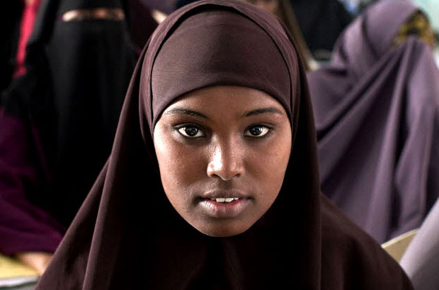 Young Somali girl in a classroom. Picture: Sven Torfinn/Panos